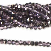 05X06MM FACETED ROUNDELLE PURPLE WITH HEMATITE 2 TINE COLOR