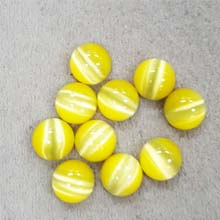 10MM ROUND CABOCHON CATS EYE YELLOW(10PCS/BAG)