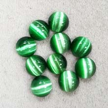 10MM ROUND CABOCHON CATS EYE GREEN(10PCS/BAG)