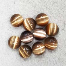 10MM ROUND CABOCHON CATS EYE BROWN(10PCS/BAG)