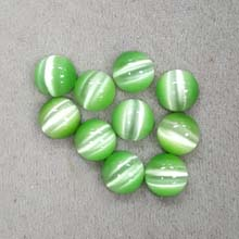 10MM ROUND CABOCHON CATS EYE LIGHT GREEN(10PCS/BAG)