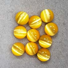 10MM ROUND CABOCHON CATS EYE DARK YELLOW(10PCS/BAG)
