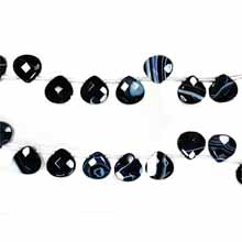 BLACK STRIPE AGATE FACETED PEAR 16X16MM