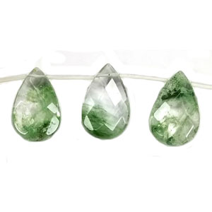GREEN RUTIALITE FACETED PEAR SD 16X25MM