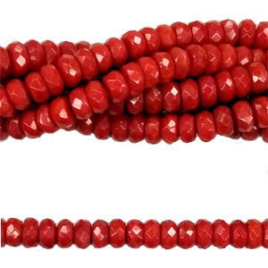 DYED RED CORAL FACETED ROUNDEL 3X6MM