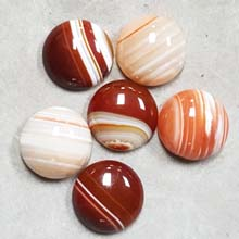 20MM ROUND CABOCHON RED STRIPE AGATE(6PCS/BAG)
