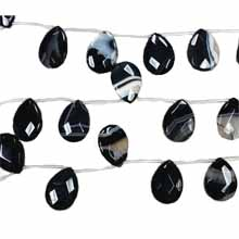 BLACK STRIPE AGATE FACETED PEAR 22X30MM