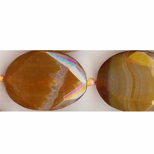 BROWN CLOUDY AGATE 25X30MM F. FLAT OVAL