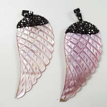 26X56MM FEATHER PENDANT-PINK SHELL