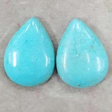 30X40MM PEAR CABOCHON STABILIZED TURQUOISE (2PCS/BAG)
