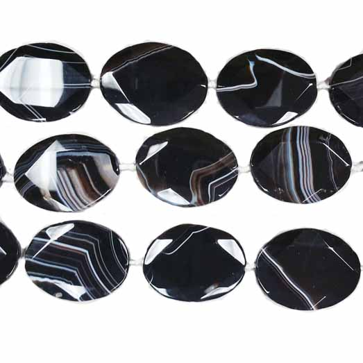 BLACK STRIPE AGATE FACETED FLAT OVAL 30X40MM