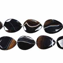 BLACK STRIPE AGATE FACETED PEAR 30X40MM