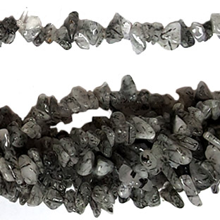 BLACK RUTILATE QUARTZ CHIPS (5 STRING)