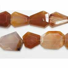 CARNELIAN (NATURAL) FACETED FLAT NUGGET 18X25MM-28X35MM