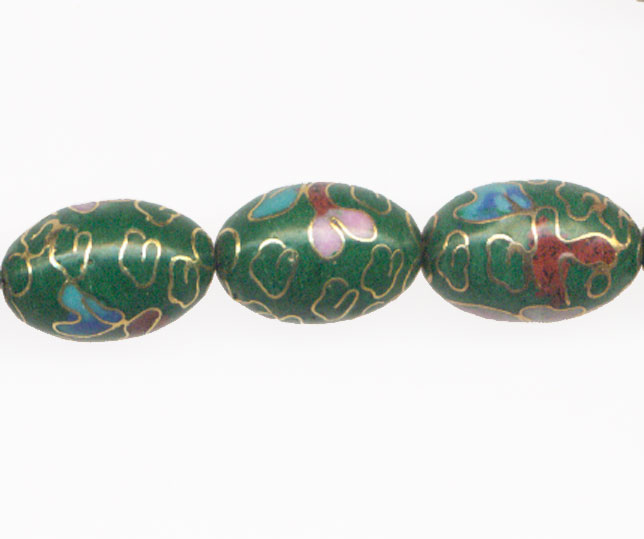 CLOISONNE RICE 12X18MM GREEN