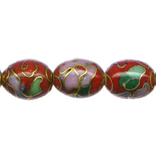 CLOISONNE RICE 12X18MM RED