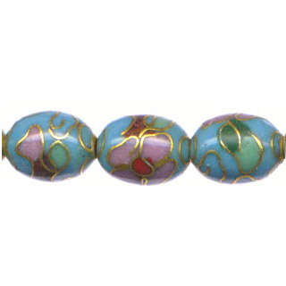 CLOISONNE RICE 12X18MM TURQUOISE