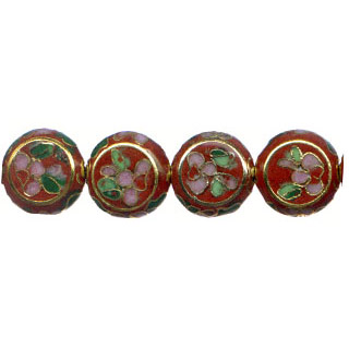 CLOISONNE DISC FLAT 12MM RUST RED