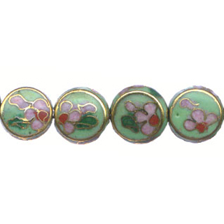 CLOISONNE COIN 12MM APPLE GREEN