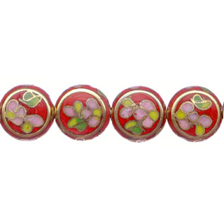 CLOISONNE DISC FLAT 12MM RED