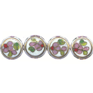 CLOISONNE DISC FLAT 12MM WHITE
