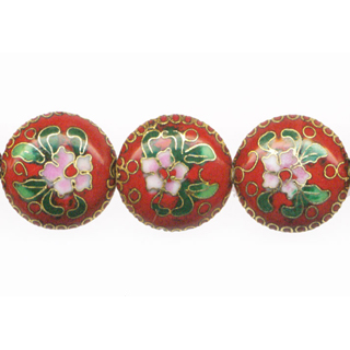 CLOISONNE DISC 20MM RED