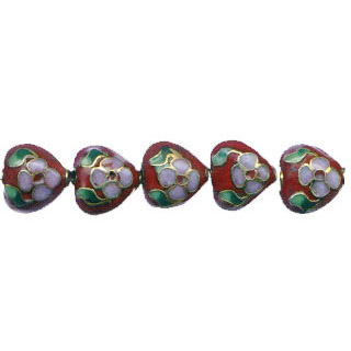 CLOISONNE HEART 10MM RUST RED