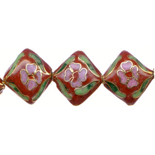 CLOISONNE DIAMOND 16MM RED
