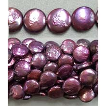 FRESH WATER PEARL COIN PEARL 10-10.5MM WINE