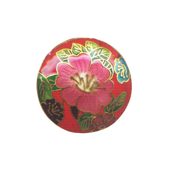 CLOISONNE COIN 40MM RED FLOWER PENDANTS