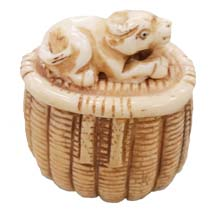 OX BONE CARVED BASKET W/ COW