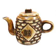 OX BONE CARVED BAMBOO TEA POT W LUCKY WORD