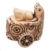 OX BONE CARVED FROG PUSH PULL CARTS