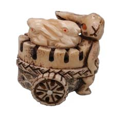 OX BONE CARVED RABBIT PULL CARTS