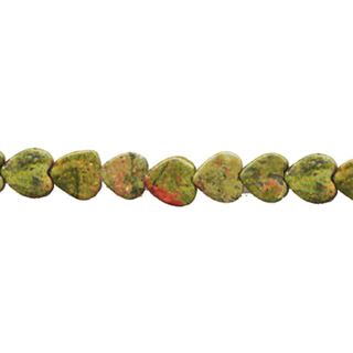 UNAKITE FLAT HEART 08MM