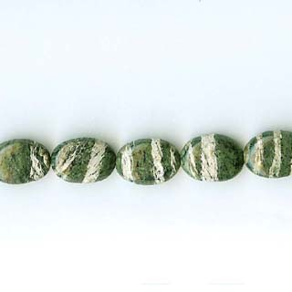 SILVER GREEN JASPER FLAT OVAL 10X14MM