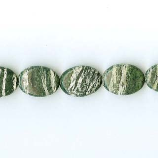 SILVER GREEN JASPER FLAT OVAL 13X18MM