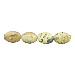 YELLOW TURQUOISE FLAT OVAL 13X18MM