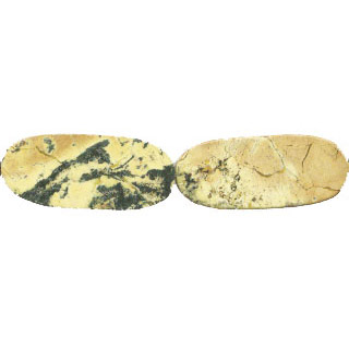 YELLOW TURQUOISE FLAT OVAL 17X40MM