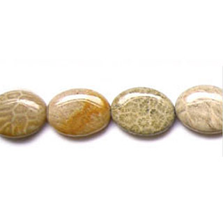 FOSSIL CORAL FLAT OVAL 22X30MM