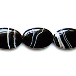 BLACK STRIPE AGATE FLAT OVAL 30X40MM
