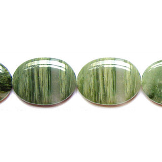 GREEN SEGA AGATE FLAT OVAL 30X40MM