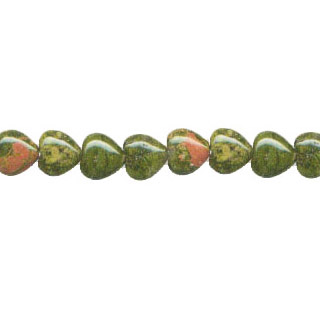 UNAKITE PUFF HEART 12MM