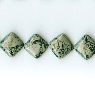 GREEN WEB JASPER DICE 14MM