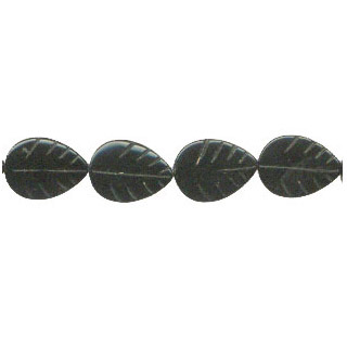 BLACK OBSIDIAN LEAF 15X20MM
