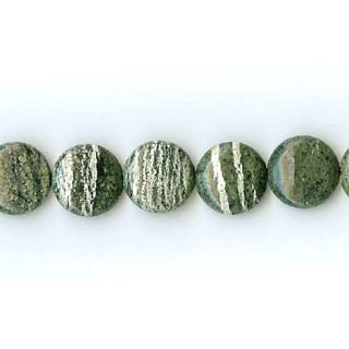 SILVER GREEN JASPER DISC 15MM