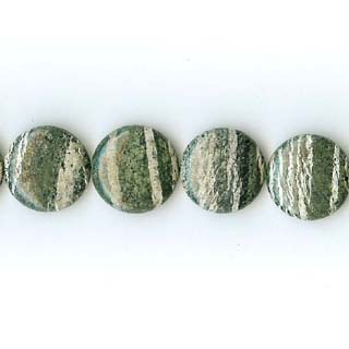 SILVER GREEN JASPER DISC 20MM