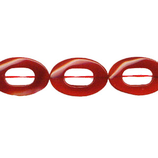 CARNELIAN(DARK) TWIST OVAL HOLLOW 20X30MM