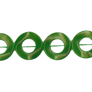 DYED JADE TWIST DONUT 25MM GREEN