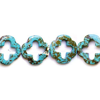 SYNTHETIC TURQUOISE FLOWER HOLLOW 34MM